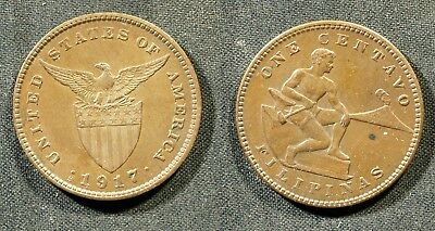 1917-S U.S. Philippines 1 Cent - Solid XF (light color)  stk#2L89