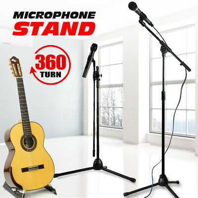 Microphone Stand Telescopic Boom Adjustable Mic Holder Tripod 1 to 2 M Au Post