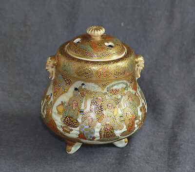 Old Japanese Satsuma koro or Incense Burner   – Mint condition with Heavy Gold