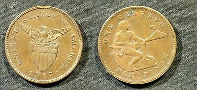 1917-S U.S. Philippines One Centavo - Solid XF (light color)    stk#2L95
