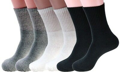 3-12 Pairs Mens Sports Athletic Crew Socks Cotton Casual Hiking Size 9-11 10-13
