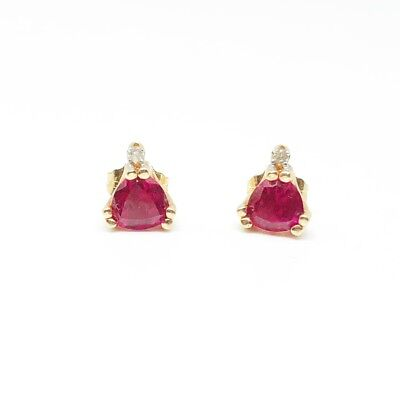 Authentic Ruby And Diamond Stud Earrings In Solid 14k Yellow Gold