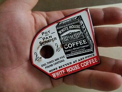 White House Coffee Porcelain Enamel Pot Pan Scraper Vintage Cafe Parlor diner