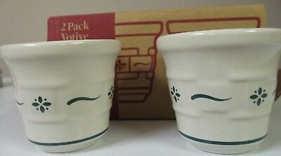 Longaberger 2 Pack Votive Set -Green- NIB (#35912)