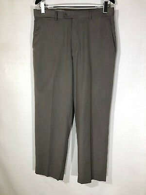 Pants Mens Flat Front Axist Black Heather Dress Work Business Pants 34 30 34w 30l