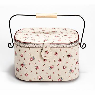 Prym Country Rose Print Tape Measure and Trim Sewing Basket 30 x 20.5 x 19 cm