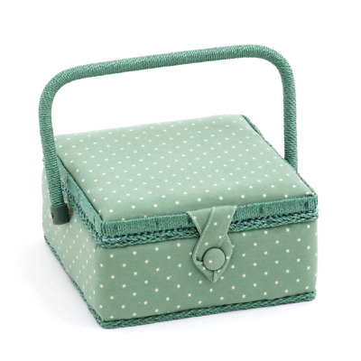 Hobby Gift 'Mini Polka Dot Moss' Small Square Sewing Box 20 x 20 x 11cm (d/w/h)