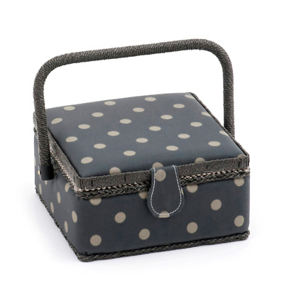 Hobby Gift 'Charcoal Polka Dot' Small Square Sewing Box 20 x 20 x 11cm (d/w/h)