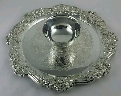 "15"" WM. A. Rogers Silverplate Serving Platter Tray with Dip Bowl - Excellent"