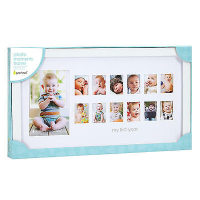 """Pearhead """"My First Year"""" Photo Moments Baby Keepsake Frame, White, Unisex"""