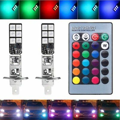Pair H1 5050 RGB 12SMD LED Auto Car Headlight Fog Bulb Lamp Light Remote Control