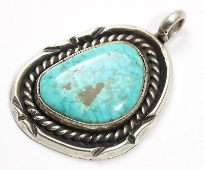 Vintage Navajo Sterling Silver Ornate Old Pawn Spiderweb Blue Turquoise Pendant
