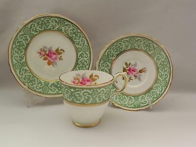 *CROWN STAFFORDSHIRE * Bone China - English TRIO Green scroll and floral A16184
