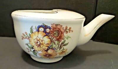 Antique Invalid Feeder Cup Wild Flowers Gold Trim made in England