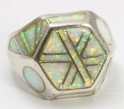 Native American Zuni Sterling Silver Lab Opal Channel Inlay Geometric Dome Ring