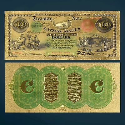 24K Gold Foil Plated 1864 $100 Dollars Banknote Novelty Money With/sleeve