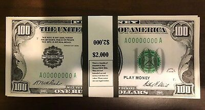 $2,000 In 1928 $100 Bills Play Money Prop USA 20 Pc Ben Franklin