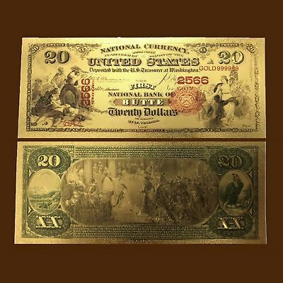 24K Gold Foil Plated 1875 $20 Dollars Banknote Novelty Money With/sleeve