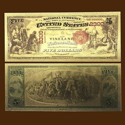 24K Gold Foil Plated 1875 $5 Dollars Banknote Novelty Money With/sleeve