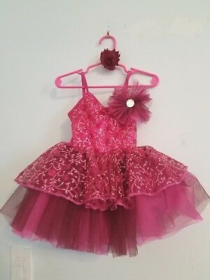 Little Girls 4T-5T Weissman Pink & Maroon Layered Sequin Tutu Dress Costume/bow!