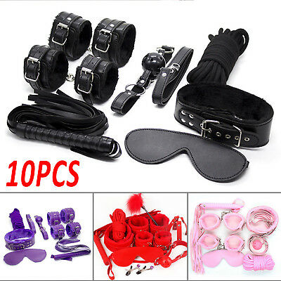 7Pc Lovers Adult Toy SM Handcuffs Cuffs Strap Whip Rope Neck Cosplay Bondage Set