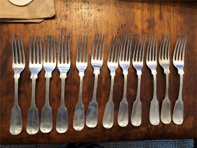 Rare Set 12 Coin Silver Forks Fiddle Pattern By J.w. Moir New York 19Th Century