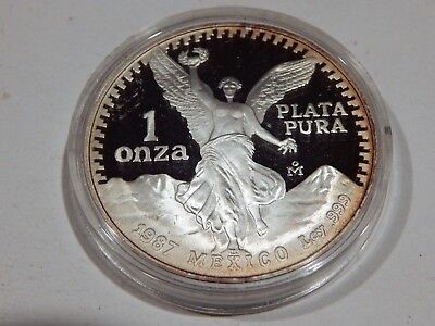 1987 Proof Mexico One Ounce 999 Silver Libertad Coin In Capsule
