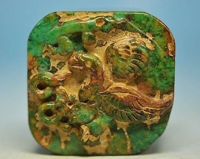 Unique Chinese old jade carved *eagle&cloud* Square seal  R01