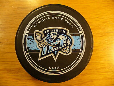 USHL Indiana Ice Blue Stripe Behind Logo Official Game Hockey Puck Collect Pucks