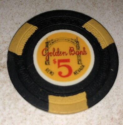 Golden Bank $5 Casino Chip Reno Nevada 2.99 Shipping