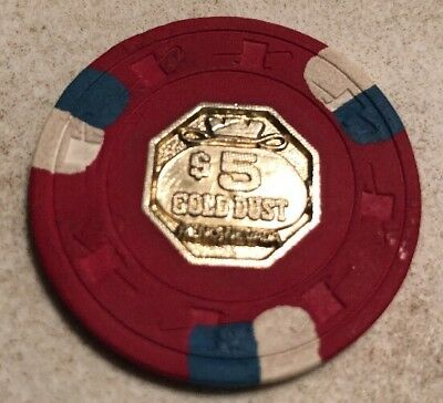 Gold Dust $5 Casino Chip Reno Nevada 2.99 Shipping