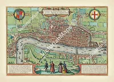 Old antique Elizabethan FIRST MAP OF LONDON by Braun & Hogenberg 1572 art poster