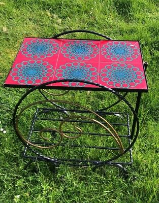 Art Deco Vintage Tiled & Wrought Iron Small Table Indoor or Outdoor *