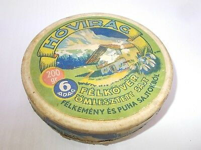 "Vintage antique circular shape paper cheese box Hungary 1930's ,,Snowdrop"" RARE"