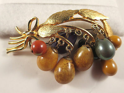 Vintage Leaves, Bow & Dangle Glass Fruit Brooch Pin Gold Tone Speckled/Green etc