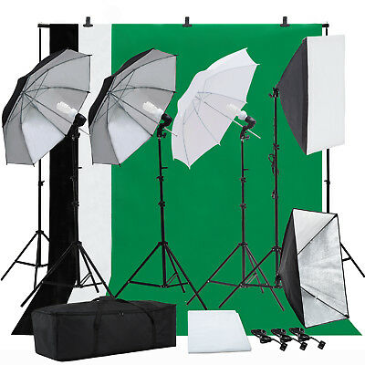 Photo Studio Photography Lighting Backdrop Stand Set Kit Umbrella Softbox Muslin