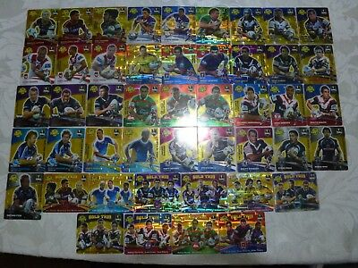 47 bulk 2007 gold rugby league nrl tazos - all different - incl 10 gold trios