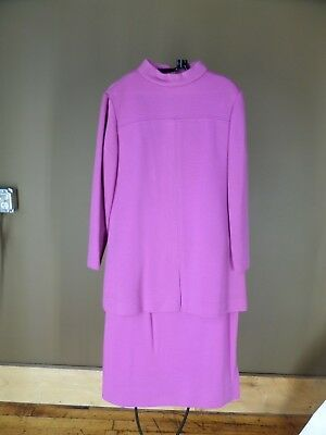 Vintage Pink double knit two piece skirt suit set metal zippers marked sz 14
