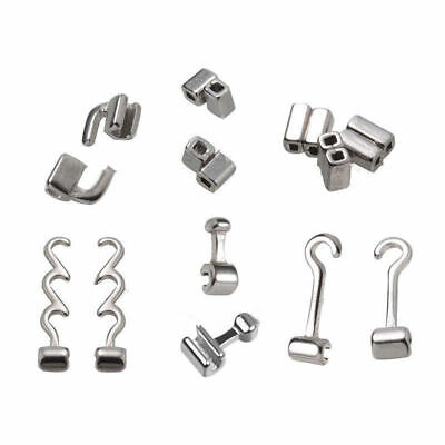 Orthodontic Dental Crimpable Hooks Sliding/Spiral Cross/Double Tube Stops 10Pcs