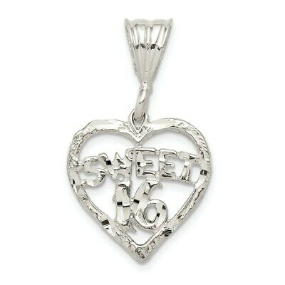 b853f856fa17 925 Sterling Silver Heart Sweet Sixteen Girl 16 Birthday Pendant Charm  Necklace