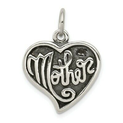 925 Sterling Silver Antique Mother Heart Pendant Charm Mothers Day Gifts