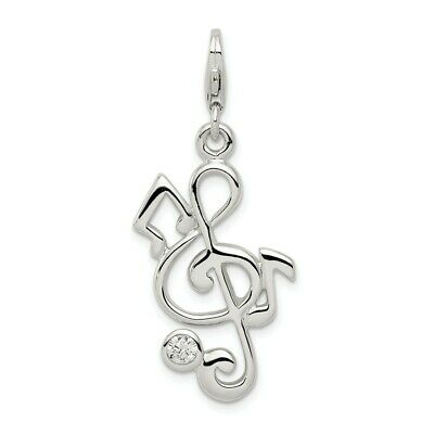 Music Note Pendant Clear Simulated CZ .925 Sterling Silver Treble Clef Charm