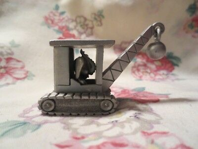 Spoontiques Pewter Mini Elephant in a Demolition Crane with Wrecking Ball. RARE!