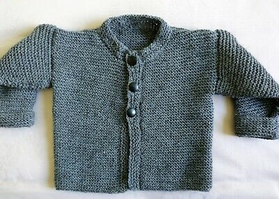 Toddlers Hand Knitted Tiny Tot Jacket Three Button Front Wool Crepe Grey