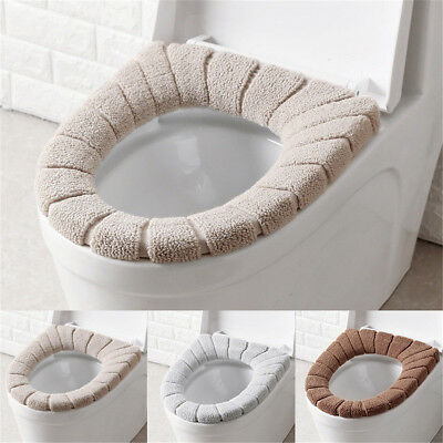 Comfortable Velvet Coral Toilet Seat Cover Standard Winter Pumpkin Cushion Mat