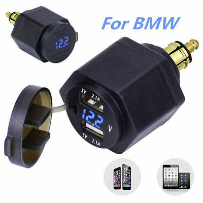 Power Adapter Blue LED Voltmeter Dual USB Charger for BMW Motorcycle Hella Plug
