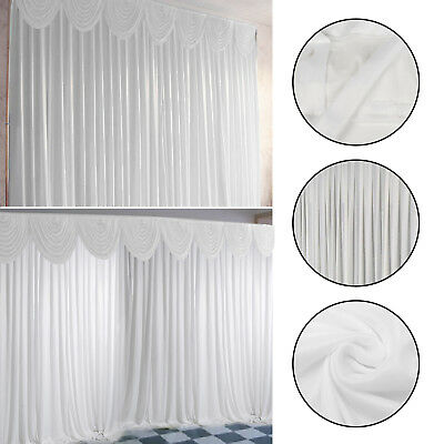 3M X 3M White Stage Wedding Party Backdrop Photography Background Curtains