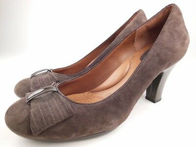 e8a370d10e4b5 CLARKS ARTISAN Society Bristol Brown Taupe Suede Pumps Heels Shoes Sz 10 M
