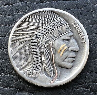 hobo nickel 1927 buffalo nickel 24k gold & copper  inlay  engraved by G. Palsis