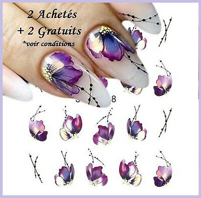 ❤️nouveau 20 Stickers Fleurs Bijoux Ongles Water Decals Stickers Nail Art